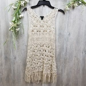 Forever 21 Small Cream Knitted Fringe Coverup